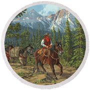 Mountain Traveler Round Beach Towel