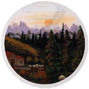 Mountain View Round Beach Towel by Barbara Griffin