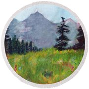 Mountain View Round Beach Towel