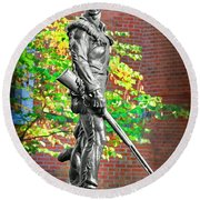 Mountaineer Statue Round Beach Towel