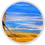 Mountaineer Statue With Blue Gold Sky Round Beach Towel