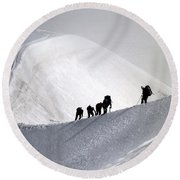 Mountaineers To Conquer Mont Blanc Round Beach Towel