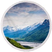 Mountains Along Seward Highway Round Beach Towel