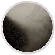 Mountains And Mist Round Beach Towel