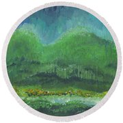 Round Beach Towel featuring the painting Mountains At Night by Holly Carmichael