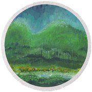 Mountains At Night Round Beach Towel