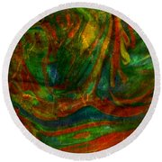 Round Beach Towel featuring the mixed media Mountains In The Rain by Ally  White