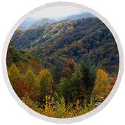 Mountains Leaves Round Beach Towel