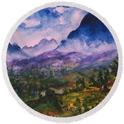 Mountains Of Pyrenees  Round Beach Towel