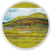 Mountains  Round Beach Towel by Reina Resto