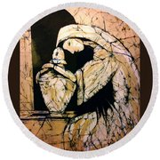 Mourning Angel Round Beach Towel