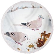 Mourning Doves Round Beach Towel by Laurel Best