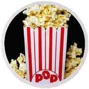 Movie Night Pop Corn Round Beach Towel