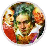 Round Beach Towel featuring the photograph Mozart Beethoven Bach 20140128 by Wingsdomain Art and Photography