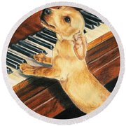 Round Beach Towel featuring the drawing Mozart's Apprentice by Barbara Keith