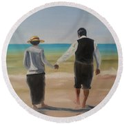 Mr. Carson And Mrs. Hughes Round Beach Towel by Bev Conover
