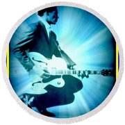 Mr Chuck Berry Blueberry Hill Style Edited Round Beach Towel by Kelly Awad