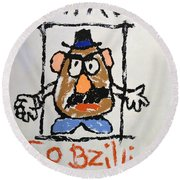 Round Beach Towel featuring the photograph Mr. Potato Head Gone Bad by Robert Meanor