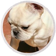 French Bulldog Ms Quiggly  Round Beach Towel