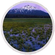 Round Beach Towel featuring the photograph Mt. Bachelor Twilight by Kevin Desrosiers