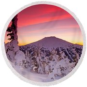 Mt. Bachelor Winter Twilight Round Beach Towel