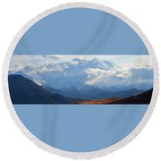 Round Beach Towel featuring the photograph Mt. Denali by Ann Lauwers