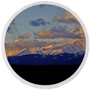 Mt Elbert Sunrise Round Beach Towel