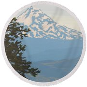Round Beach Towel featuring the painting Mt Hood by Karen Ilari