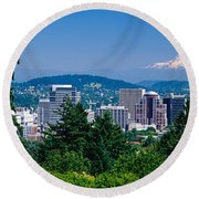 Round Beach Towel featuring the photograph Mt Hood Portland Oregon Usa by Panoramic Images