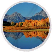 Mt. Moran Reflection Round Beach Towel by Ed  Riche