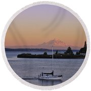 Mt. Rainier Afterglow Round Beach Towel
