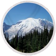 Round Beach Towel featuring the photograph Mt. Rainier In August by Chalet Roome-Rigdon