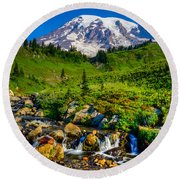 Mt. Rainier Stream Round Beach Towel