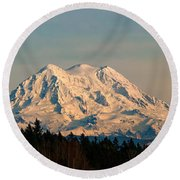 Mt Rainier Winter Panorama Round Beach Towel