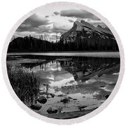Mt. Rundle Reflection Round Beach Towel