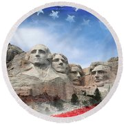 Mt Rushmore Flag Frame Round Beach Towel