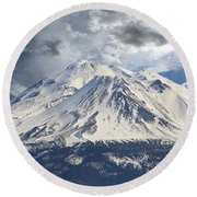 Mt Shasta Round Beach Towel