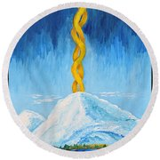 Round Beach Towel featuring the painting Mt. Shasta by Cassie Sears