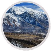 Mt. Timpanogos In Winter From Utah Valley Round Beach Towel