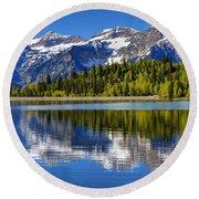Mt. Timpanogos Reflected In Silver Flat Reservoir - Utah Round Beach Towel