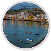 Mugardos Panorama Galicia Spain Round Beach Towel