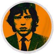 Mugshot Mick Jagger P0 Round Beach Towel