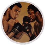 Muhammad Ali And Joe Frazier Round Beach Towel by Paul Meijering
