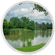 Muller Chapel Pond Ithaca College Round Beach Towel