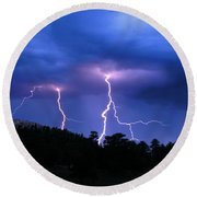 Multi Arc Lightning Strike Round Beach Towel