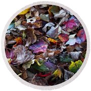 Multicolored Autumn Leaves Round Beach Towel