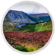 Multicolored Carpet Of Wicklow Hills. Ireland Round Beach Towel