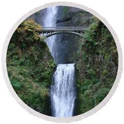 Round Beach Towel featuring the photograph Multnomah Falls by Athena Mckinzie