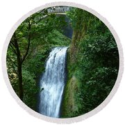 Multnomah Falls Bridge 2 Round Beach Towel