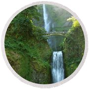 Multnomah Falls Round Beach Towel by Christiane Schulze Art And Photography